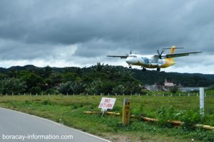 Plane landing at Boracay Airport in Caticlan