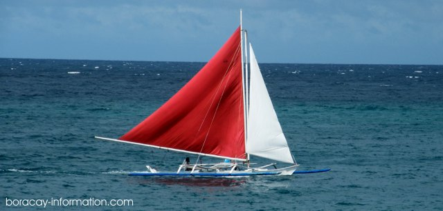 A Paraw Sailing Boat at Boracay Island, Philippines