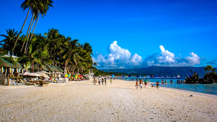 The famous White Beach on Boracay Island